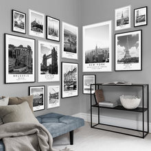 Paris London Budapest Travel Posters and Prints, Black and White Coordinates Wall Art Canvas Painting Wall Pictures Home Decor