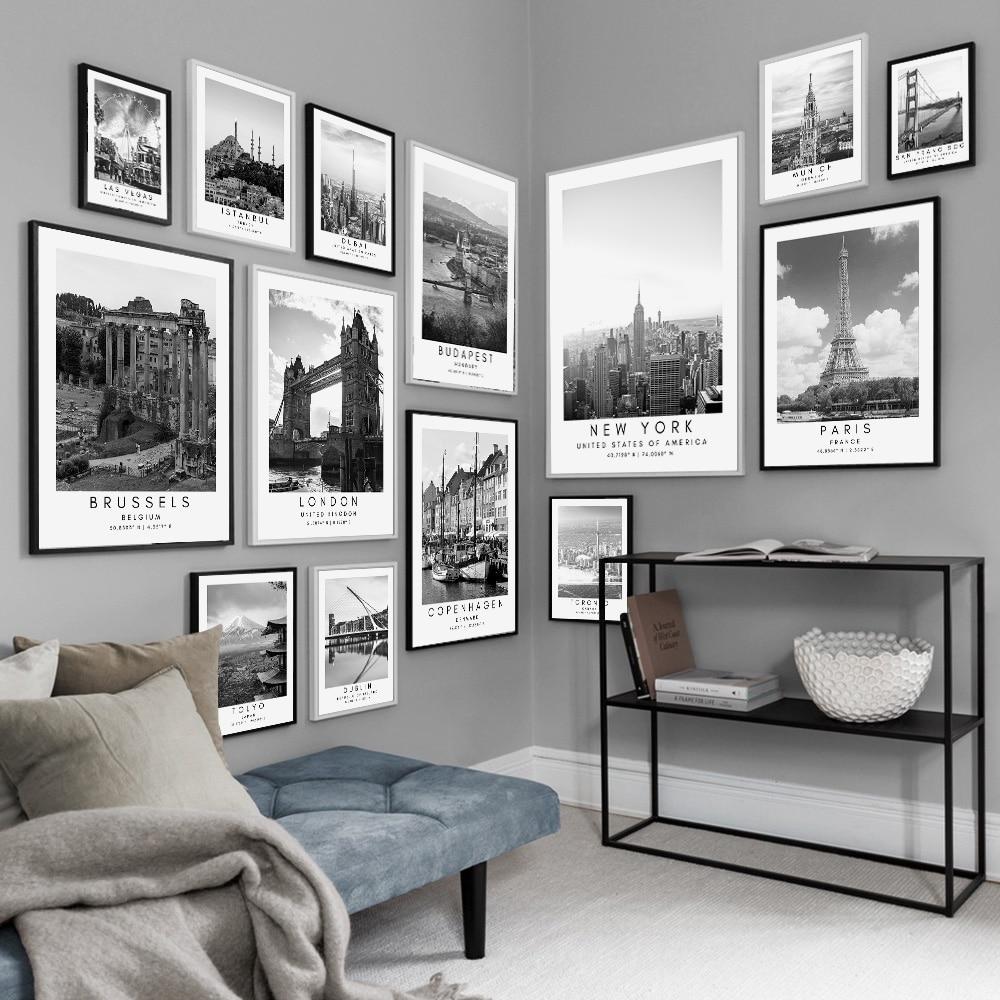 Paris londres budapeste viagem posters e impressões, preto e branco coordenadas parede arte da lona quadros de parede decoração da sua casa