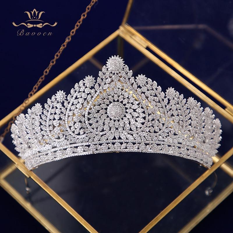 Luxurious Princess Crystal Wedding Tiaras Crowns Brides Full Zircon Hairbands Evening Headpieces Bridal Hair Accessories