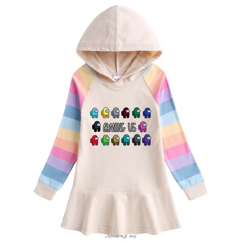 Among us Hooded Dresses for Girl Clothes Cotton Princess Dress Kids Dresses Children Clothing Girls Autumn Dress 2