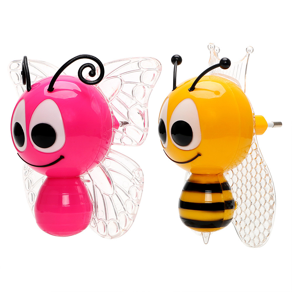 EU Plug Light Sensor Cartoon Bee LED Night Light Cute Colorful Bedside Lights For Baby Bedroom Children's Gifts For Baby