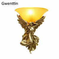 Modern Goddess Angel Wall Lamp for Living Room Bedroom Stairs Light Fixtures Nordic Gold Wall Sconce Mirror Lights Home Art Deco