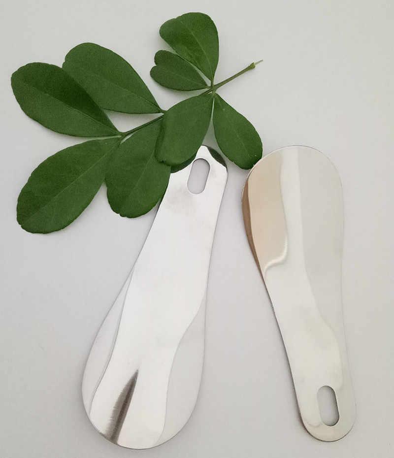 Zapato de Metal cuchara de cuerno 1PC portátil 10cm calzador profesional de plata de acero inoxidable Mini cuerno de zapato