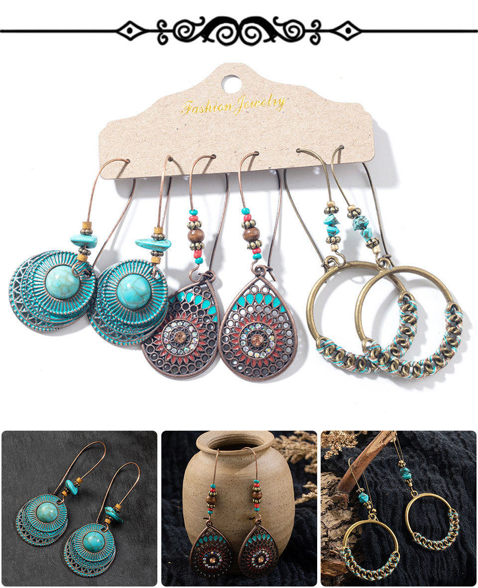 H6806f75888044ebfbe2e46836c5ea266T - Multiple Women's  Boho Ethnic Drop Earrings