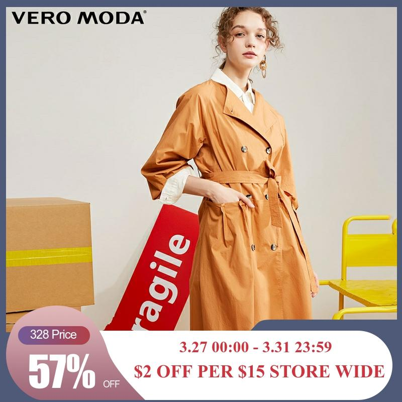 Vero Moda New Women's Lapel 100% Cotton Orange Trench Coat | 319321550
