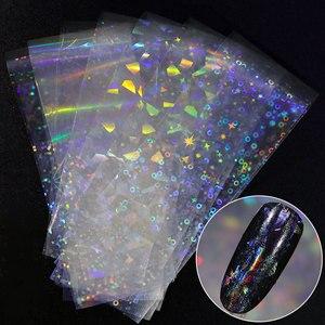 Image 1 - 8 sztuk holograficzne naklejki foliowe na paznokcie kolorowe naklejki Transfer gwiaździste naklejki suwaki do dekoracji tipsy narzędzia do manicure