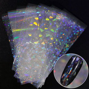 Image 1 - Pegatinas holográficas de colores para decoración de uñas, accesorios de manicura, 8 piezas
