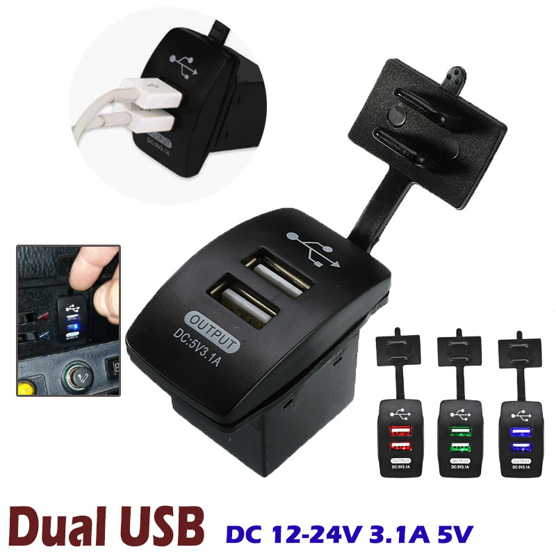 <font><b>Mini</b></font> Micro 12-24V 3.1A 5V Dual <font><b>USB</b></font> <font><b>Car</b></font> Power Supply Socket Waterproof Auto <font><b>Charger</b></font> 2 Port Motorcycle Truck ATV Boat <font><b>Adapter</b></font> Acce image