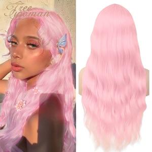 Libre largo ondulado peluca con flequillo Lolita Rosa pelucas sintéticas para mujeres blancas rojo azul negro peluca rizada falso Cosplay del pelo marrón