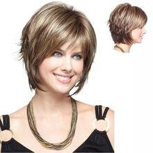 Perruque synthétique courte lisse Blonde brune pour femmes, perruques mixtes, cheveux haute température, livraison gratuite
