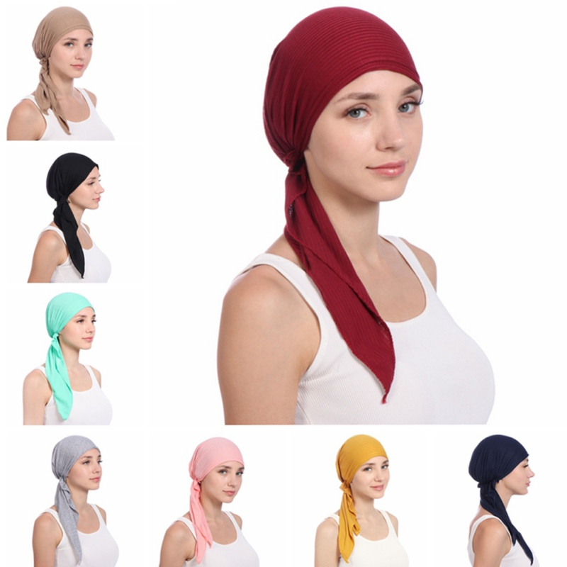 2019 New Women India Hat Muslim Ruffle Cancer Chemo Beanie Scarf Turban Two Tail Wrap Cap Daily Wear Solid Freeshipping Rk