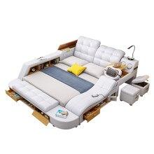 Hakiki deri çok fonksiyonlu masaj yatağı çerçeve modern İskandinav camas ultimate yatak depolama ile LED ışık Bluetooth hoparlör güvenli