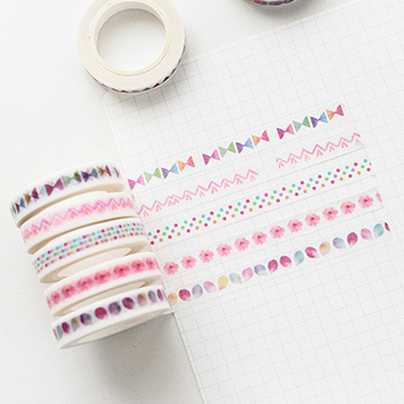 Creative Thin Tape Masking Tape Kawaii DIY Stickers Scrapbooking Decorative Adhesive Tape For School Material