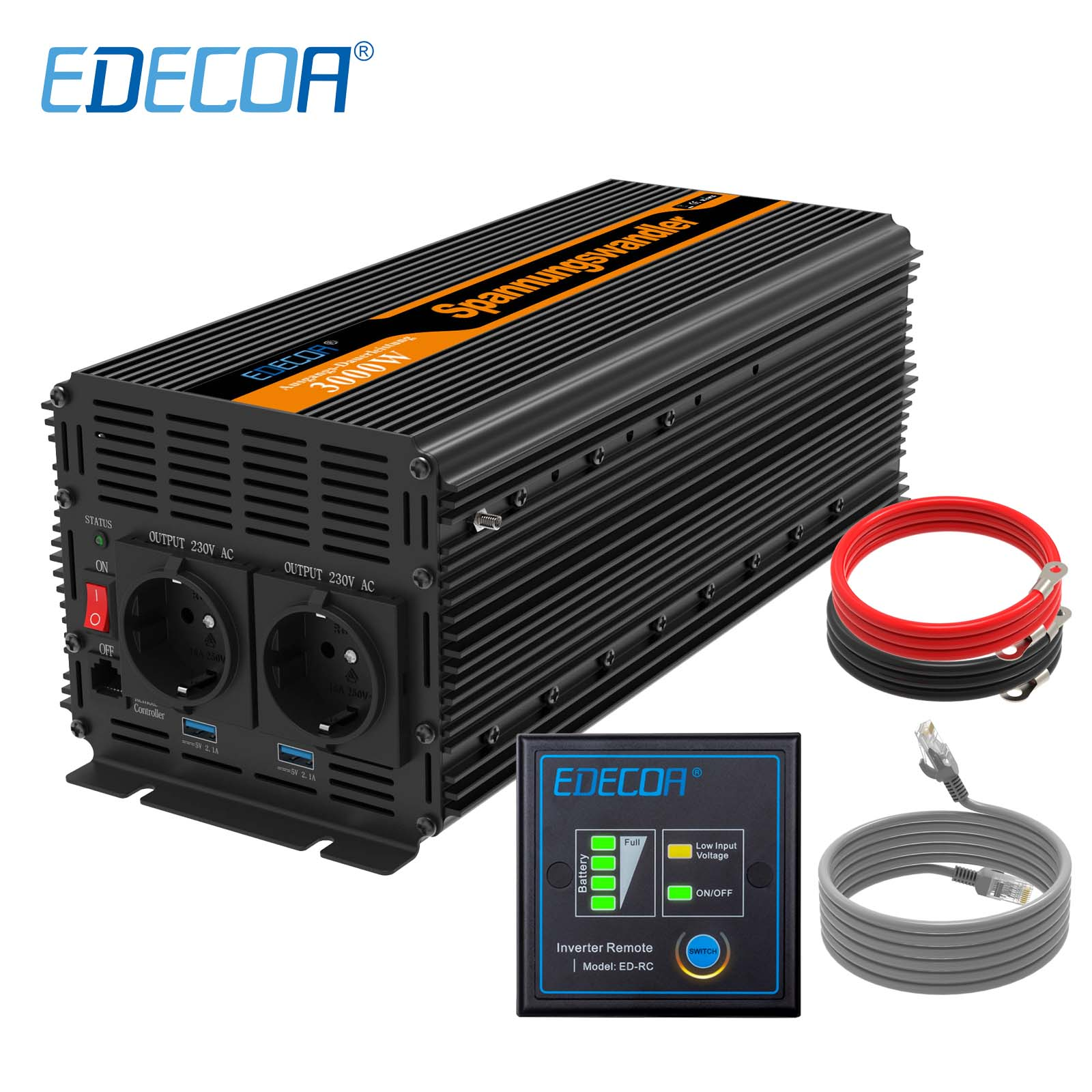 EDECOA modified sine wave <font><b>inverter</b></font> DC <font><b>24v</b></font> AC 220v 3000W <font><b>6000W</b></font> power <font><b>inverter</b></font> off grid with remote control USB ports 5V 2.1A image