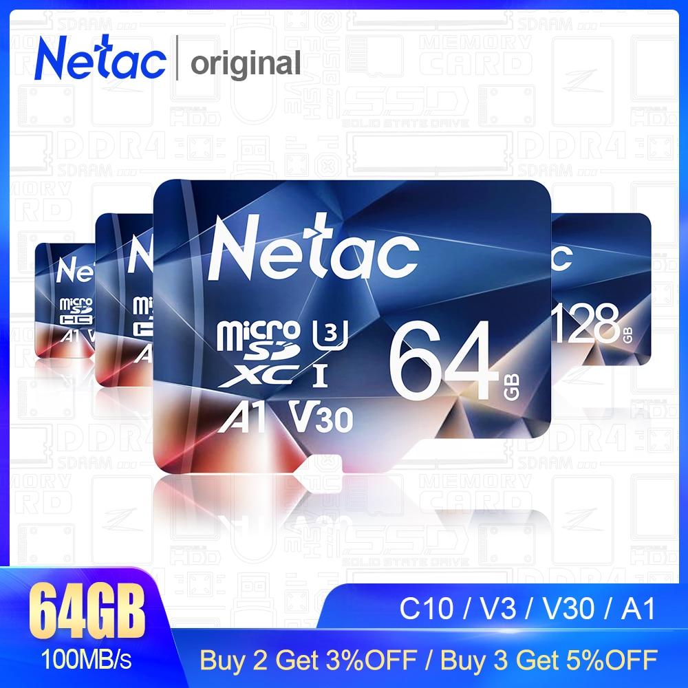 Карта памяти MicroSD Netac, 128 ГБ, 64 ГБ, 256 ГБ, 512 ГБ, C10/U3/V30/A1
