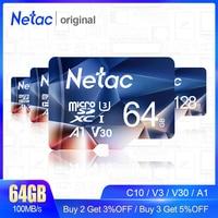 Netac mikro SD kart 128GB hafıza kartı SD kart 64GB 256GB 512GB C10/U3/v30/A1 TF kart Cartao De Memoria telefon kamera için