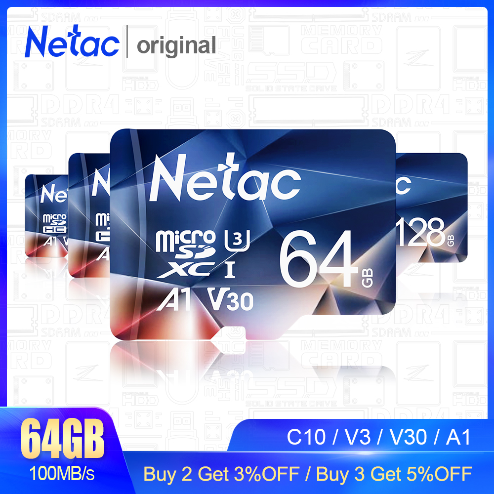 Netac P500 Micro SD Card 128GB Memory Card SD Card 64GB 256GB 512GB C10/U3/V30/A1 TF Card Cartao De Memoria For Phone Camera