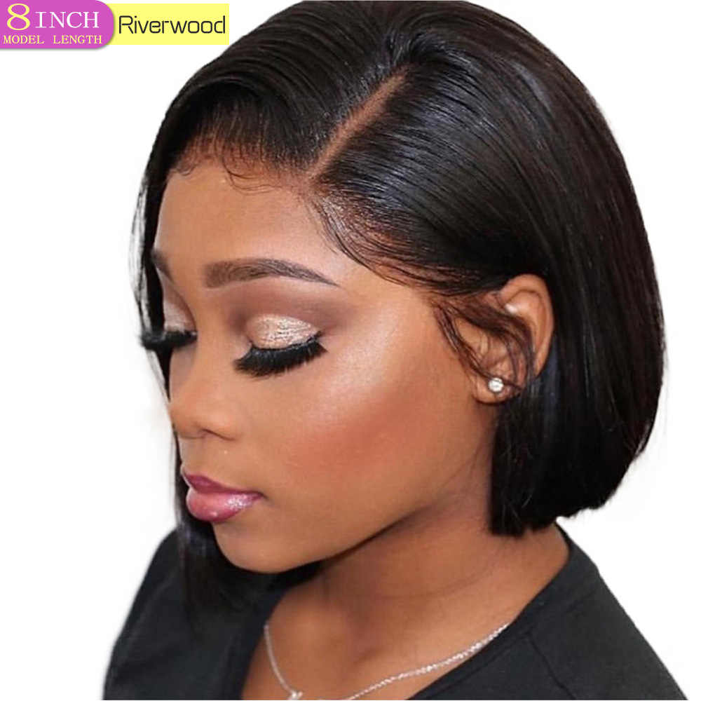 Short Lace Front Human Hair Wigs For Black Women Brazilian Straight Remy 13X4 Lace Closure Bob Lace Wig pre plucked baby hair