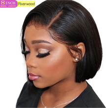 Wigs Lace-Wig Short Human-Hair Pre-Plucked Black Straight Women Brazilian 13X4 for Remy