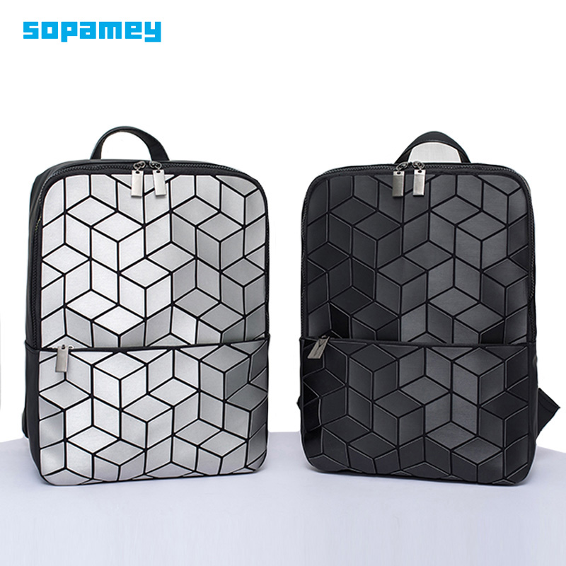 New Women Luminous School Backpack Geometric Shoulder Bag Female Backbag Folding School Bags For Teenage Girl Hologram Backpacks