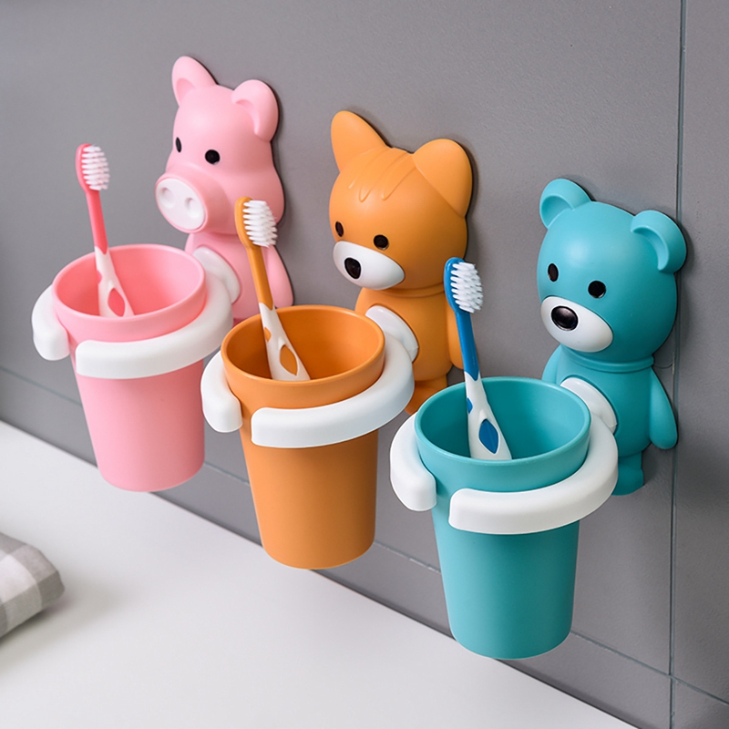 Cute Animal Child Kid Toothbrush Set with Toothbrush Rinse Cup and Holder Bathroom Accessories Toothpaste Holder Shelf Kid Gift image