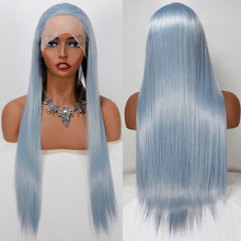 Wig Synthetic-Hair Hairline Lace-Front Bombshell Heat-Resistant-Fiber Sky-Blue Natural