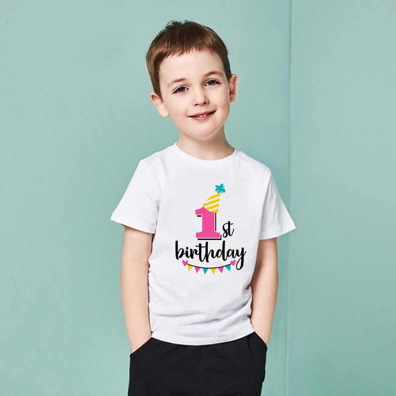 จำนวนเด็ก TShirt ชายหญิงวันเกิด PARTY เสื้อยืดวันเกิดของฉันแขนสั้นนุ่มเสื้อผ้าเด็กปัจจุบัน