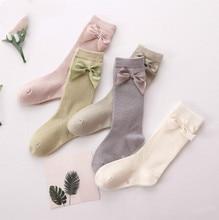 2020 ребенок вещи ребенок девочка носки гольфы высокие принцесса носки для девочки сладкий милый длинный трубка дети конфеты цвет банты ножка грелка 2-8Т