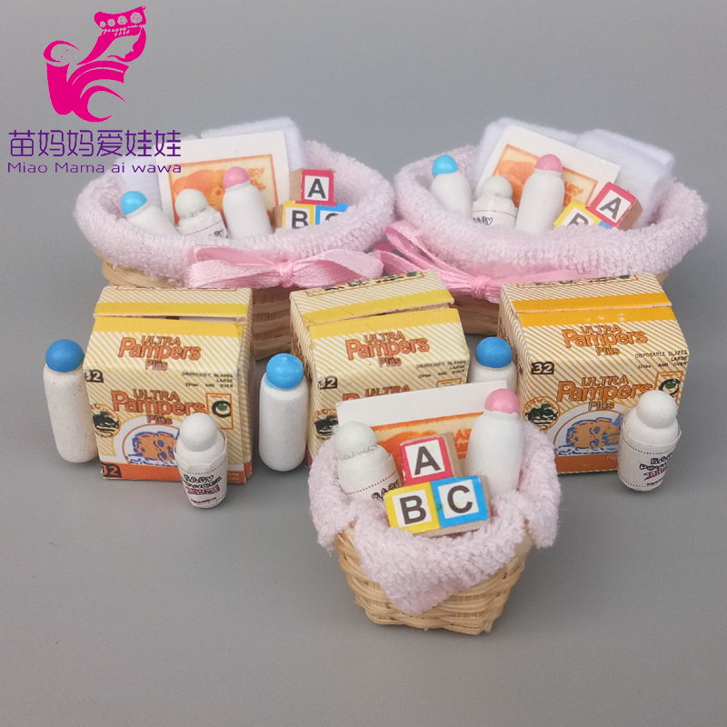 Mini Feeding Model Milk Bottle Diapers For Doll House Mininature Accessories For Barbie Blythe Doll