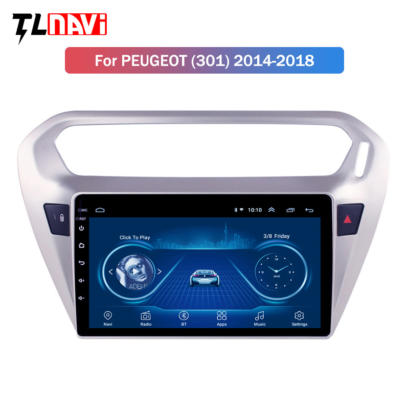 Android 8.1 Car DVD Player <font><b>GPS</b></font> Navigation Multimedia <font><b>For</b></font> <font><b>peugeot</b></font> <font><b>301</b></font> Citroen Elysee Radio 2013-2016 image