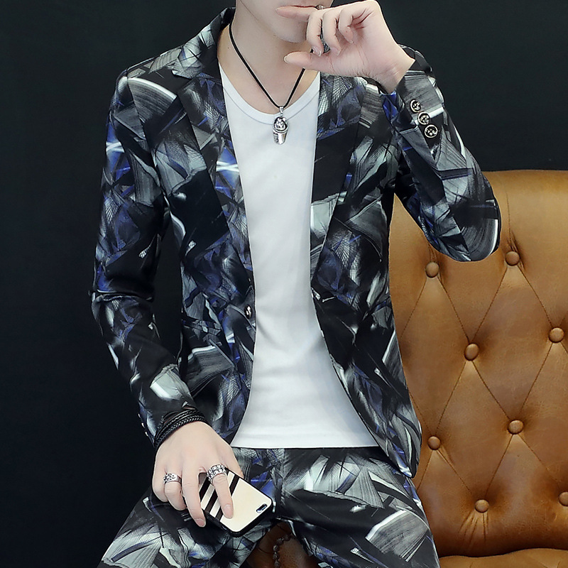 2020 Autumn New Style Men Printed Suit Teenager Casual Cool Trend Handsome Suit Two Pieces