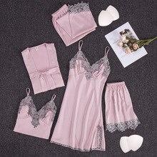 pijamas women 5 Pieces set sexy lingerie set sleep tops baby doll ladies'pajamas