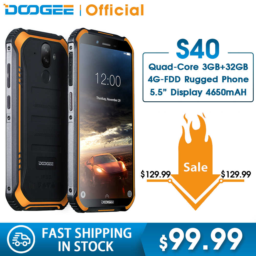 IP68/IP69K DOOGEE S40 MTK6739 Quad Core 2GB di RAM 16GB di ROM Android 9.0 4GNetwork Rugged Mobile telefono Display da 5.5 pollici 4650mAh 8.0MP
