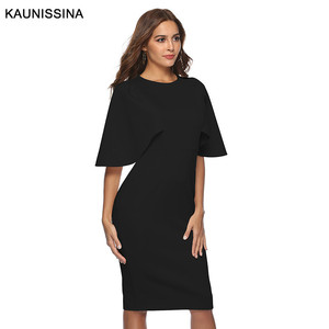 Image 2 - KAUNISSINA Elegant Cocktail Dress Bodycon Solid Knee Length Formal Party Gowns Back Split Robe Homecoming Dresses