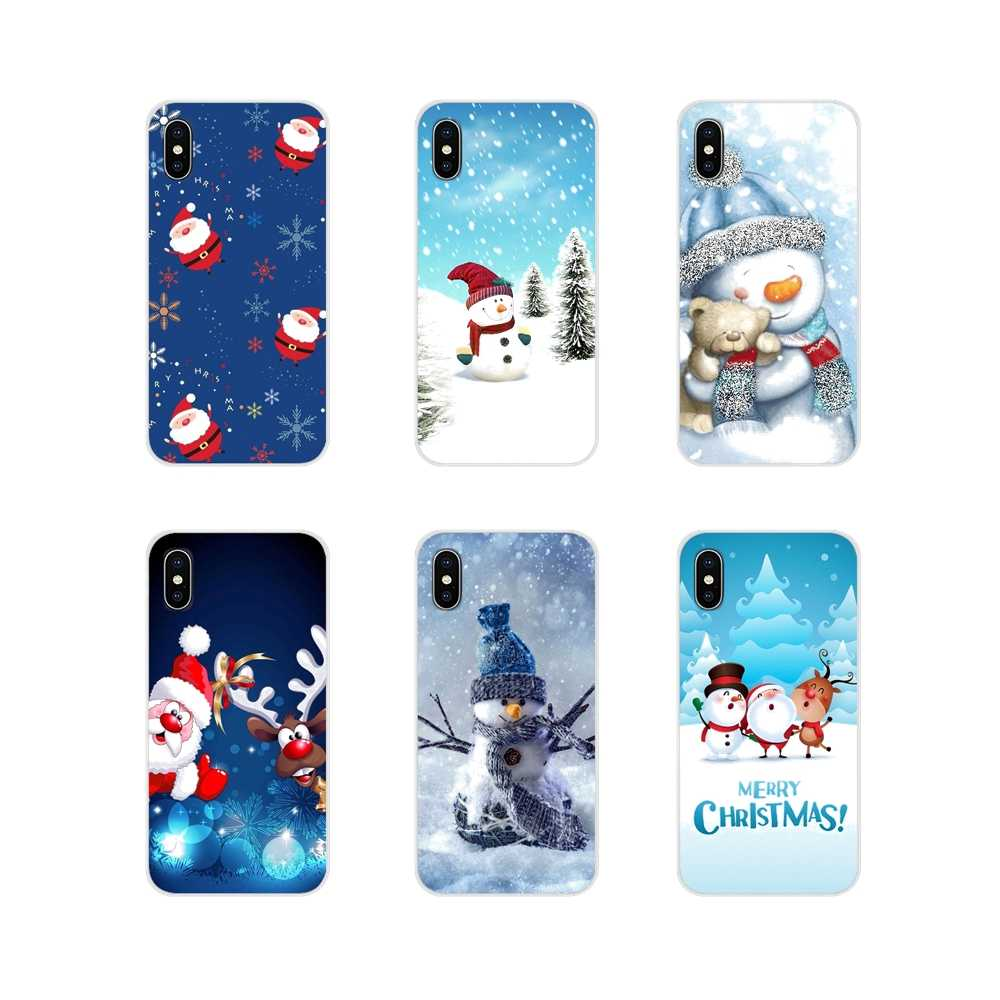 Sweet Christmas Snowman For Sony Xperia Z Z1 Z2 Z3 Z5 compact M2 M4 M5 E3 T3 XA Huawei Mate 7 8 Y3II Accessories Phone Cover Bag