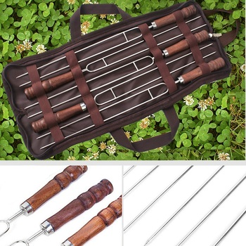 BBQ skewers 5 Pcs Stainless Steel Skewer Flat Meat Barbecue Skewer Camping Catering Barbecue Tool Set skewers for barbecue цена 2017