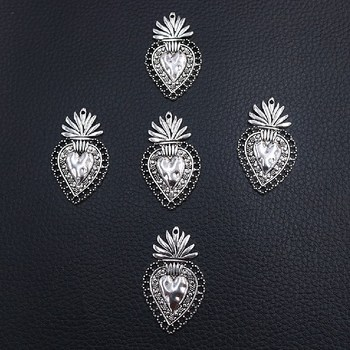 6pcs/lot Christian Acred Sacred Heart Charm Mexico Milagro Flame Heart Pendant Shiny Silver Plated Tones 40*24mm A2274 image