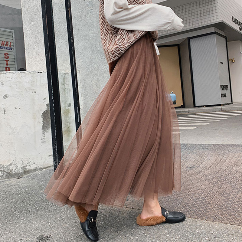 Mesh Women's Tulle Skirt Women Midi Black  Long Pleated Tulle Skirts For Women High Waist Skirt Female Tutu Skirt Spring Summer