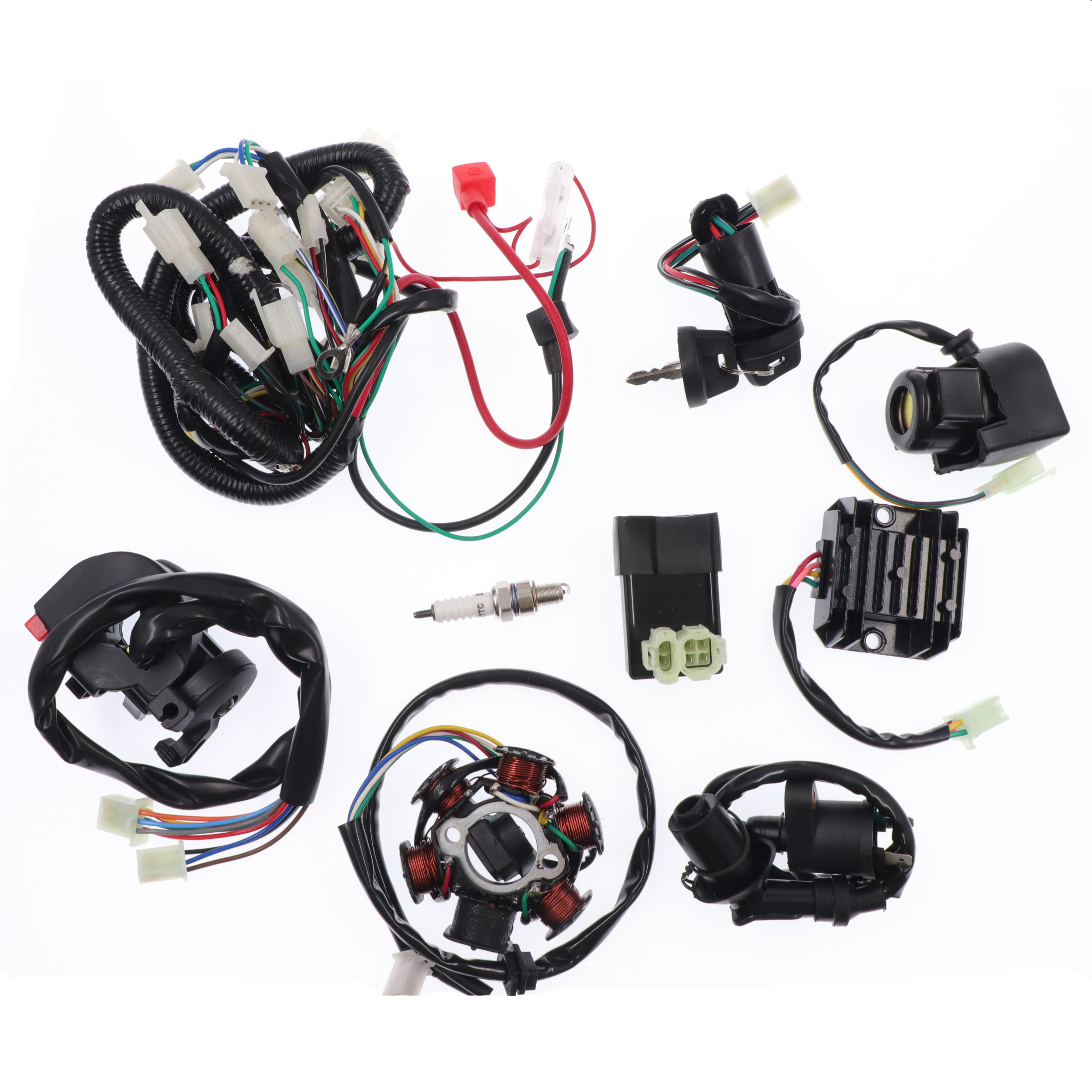 Motorcycle Full Complete Electrics Wiring Harness GY6 CDI Coil Startor For 125CC 150CC  For Dirt Bike ATV Quad Pit Bike Go Kart