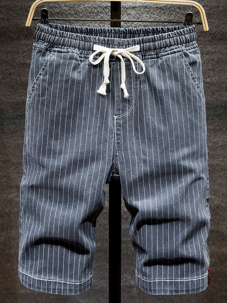Pants Jeans Short Stretch Casual Advanced Striped Men's Summer New-Fashion 6XL 5XL Male
