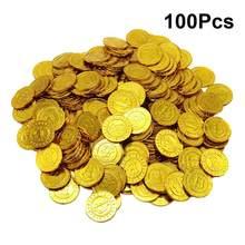 Pièces de monnaie en plastique, 100 pièces, pirate, pièces d'or, pièces de monnaie, accessoires de jeu, jetons de fête pour enfants (doré)