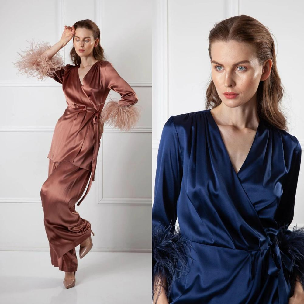 Vintage Two Pieces Night Robe with Feathers Long Sleeve Pant Suits Women Sleepwear Nightgown Robes