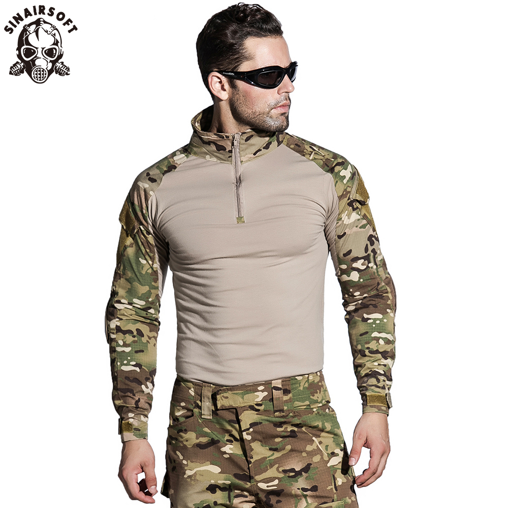SINAIRSOFT Camouflage Military Tactical Uniform US Army Combat Shirt Only Cargo Multicam Airsoft Paintball With Elbow Pads Camo