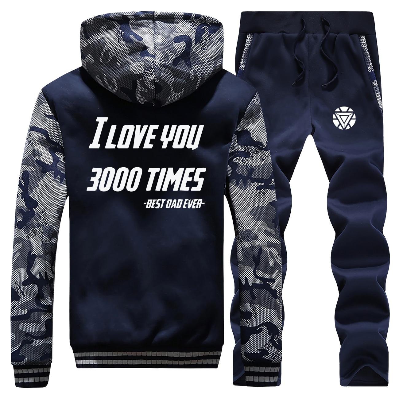 Avengers Iron Man I Love You 3000 Times Mens Tracksuit Winter Men Warm Set Thick Jackets+Pants 2 Pieces Sets Male Hoodies Suit