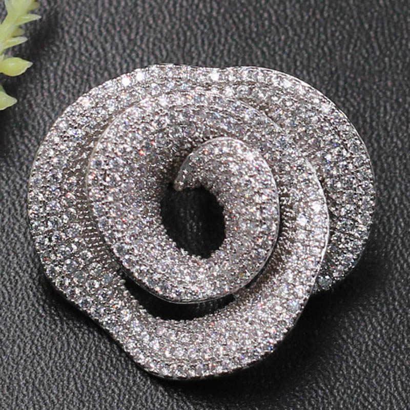 Zlxgirl Perhiasan Pengantin Super Mewah Elegan Bunga Micro Bros Liontin Dual untuk Pesta Pernikahan Sandblasting Populer Hadiah