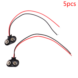 5pcs/lot 9V Battery Clips 15cm Black Red Cable Connection Connector Buckle