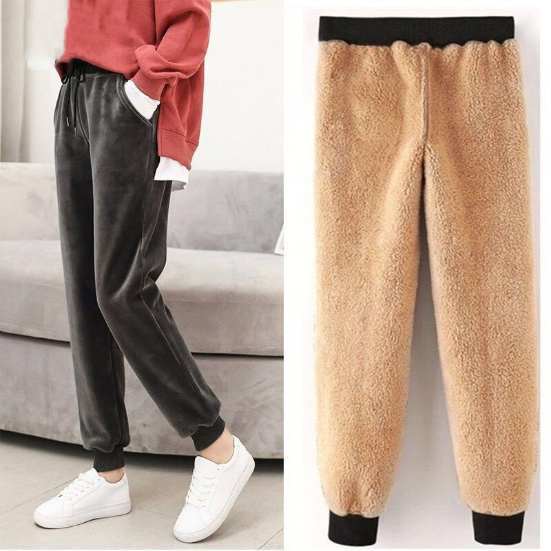 BEFORW 2019 Autumn Winter Harem Warm Pants Women's Thick Velvet Casual Pants Women Loose Winter Causal Women Trousers M-XL