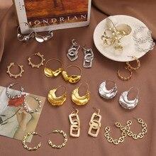 Pendientes de cadena gruesa con borla dorada para mujer, aretes largos de Metal con cadena geométrica, joyería Irregular