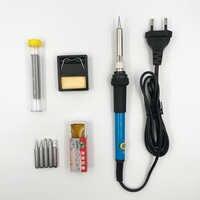9 piezas Juego 60W temperatura ajustable soldadura eléctrica Estación de retrabajo de hierro Mini mango lápiz de calor herramientas de reparación de soldadura