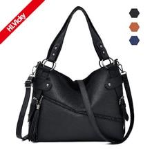 Hot Sale Women Casual Tote Bag Female Handbag Black Large Big Shoulder Ladies Vintage PU Leather Crossbody